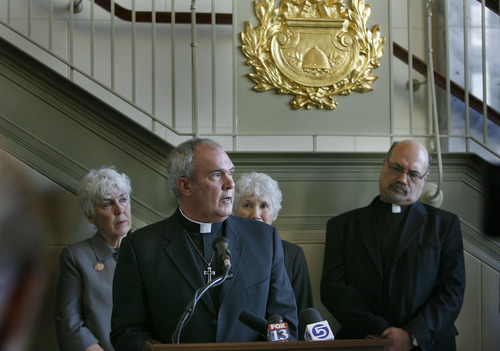 Scott Sommerdorf  l  The Salt Lake Tribune The Rev. Steve Klemz, of Salt Lake City's Zion Evangelical Lutheran Church, joins other Utah religious leaders Monday in urging Utah legislators to back away from immigration reforms and let the federal government lead the way. 1/24/2011.
