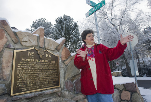 Al Hartmann   |  The Salt Lake Tribune  East Millcreeks' community council chairman, Nancy Carlson-Gotts describes the residential neighborhhood near 2700 E. and Evergreen Ave. (3435 South).  It's a neighbood that prides itself in its natural beauty and pioneer heritage.  She stands next to a monument marking the site of the first mill that refined flour in the valley.
