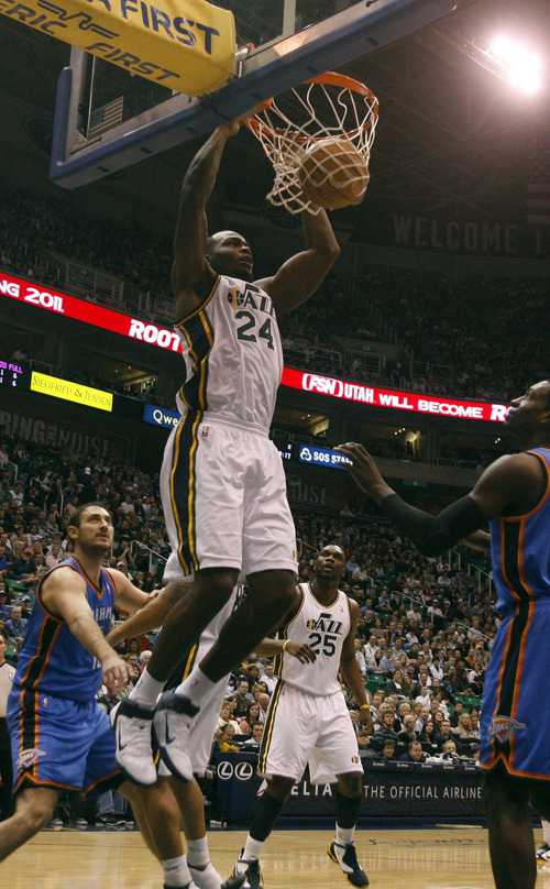 Rick Egan   |  The Salt Lake Tribune  Utah Jazz forward Paul Millsap (24) dunks the ball for two of his 34 points, in NBA action, Utah Jazz vs. Oklahoma Thunder, in Salt Lake City,  Saturday, February 5, 2011