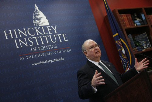 Francisco Kjolseth  |  The Salt Lake Tribune Undersecretary of the Army Joseph Westphal spoke Monday at the University of Utah's Hinckley Institute of Politics and Middle East Center.