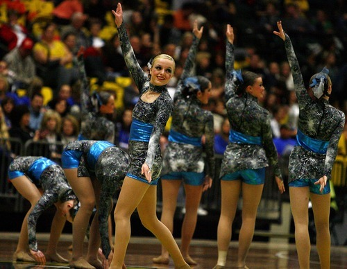 Djamila Grossman  |  The Salt Lake Tribune  The Westlake High School drill team competes in the dance category of the 4A and 5A Drill Team Championship at Utah Valley University in Orem, Utah, Friday, February. 4, 2010.