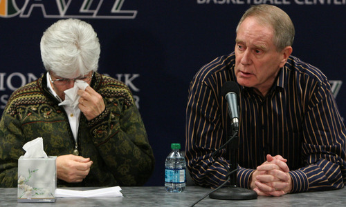 Leah Hogsten  |  The Salt Lake Tribune Jazz owner Gail Miller, left, and Jazz general manager Kevin O'Connor react at a news conference Thursday in which Sloan announced his resignation as head coach. Sloan's resignation brings to a stunning end a long career in Utah that included most of his 1,221 career coaching victories and induction into the basketball Hall of Fame.