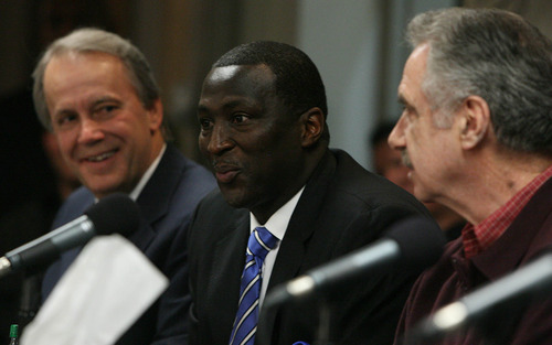 Leah Hogsten     The Salt Lake Tribune Utah Jazz president Randy Rigby, left, newly named Jazz head coach Tyrone Corbin and  Phil Johnson during a news conference Thursday in which Jerry Sloan announced his resignation. Sloan's resignation brings to a stunning end a long career in Utah that included most of his 1,221 career coaching victories and induction into the basketball Hall of Fame.