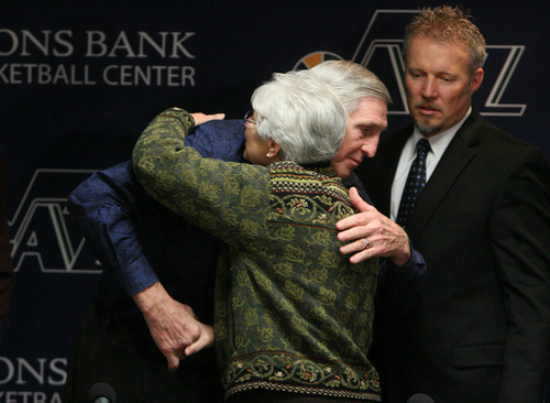 Leah Hogsten  |  The Salt Lake Tribune Jerry Sloan hugs Jazz owner Gail Miller during a news conference Thursday in which Sloan announced his resignation as head coach. Sloan's resignation brings to a stunning end a long career in Utah that included most of his 1,221 career coaching victories and induction into the basketball Hall of Fame. At right is Jazz CEO Greg Miller.