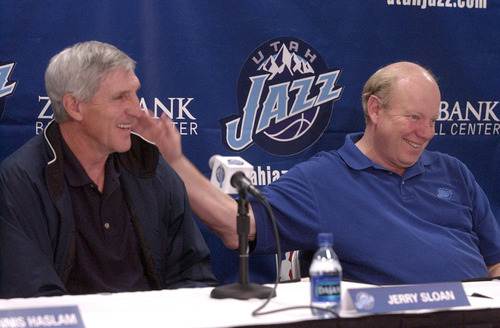 Francisco Kjolseth  |  The Salt Lake Tribune  Jerry Sloan, left, head coach of the Utah Jazz is patted on the back by Jazz owner Larry H. Miller following his announcement to keep coaching the team through the 2007-2008 season.