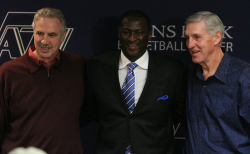 Leah Hogsten  |  The Salt Lake Tribune Former Utah Jazz Assistant coach Phil Johnson, left, new head coach Tyrone Corbin and former Utah Jazz head coach Jerry Sloan during a news conference Thursday in which Sloan announced his resignation. Sloan's resignation brings to a stunning end a long career in Utah that included most of his 1,221 career coaching victories and induction into the basketball Hall of Fame.
