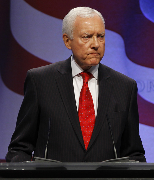 Sen. Orrin Hatch, R-Utah, speaks at the Conservative Political Action Conference (CPAC) in Washington, Friday, Feb. 11, 2011.(AP Photo/Alex Brandon)
