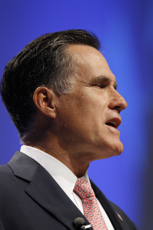 Mitt Romney speaks at the Conservative Political Action Conference (CPAC) in Washington, Friday, Feb. 11, 2011.(AP Photo/Alex Brandon)