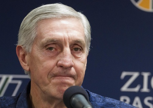 Utah Jazz Jerry Sloan announces his resignation during an NBA basketball news conference in Salt Lake City, Utah, Thursday, Feb. 10, 2011. Sloan stepped down Thursday after 23 seasons and 1,127 wins as head coach of the Jazz.  Longtime assistant Phil Johnson, who also was in his 23rd season with the Jazz, also resigned.  (AP Photo/Jim Urquhart)
