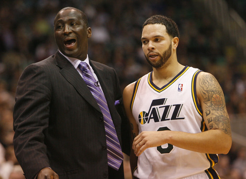 Chris Detrick | The Salt Lake Tribune   Utah Jazz head coach Tyrone Corbin and Utah Jazz point guard Deron Williams  during the game against Phoenix at the EnergySolutions Arena Friday February 11, 2011.