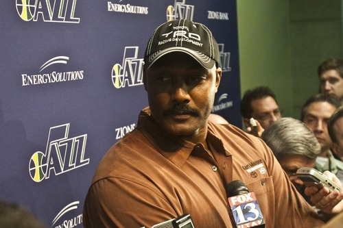 Photo by Chris Detrick | The Salt Lake Tribune  Karl Malone talks to members of the media at EnergySolutions Arena Friday February 11, 2011.