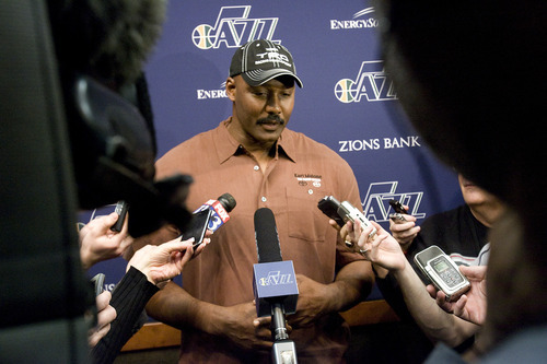 Jeremy Harmon  |  The Salt Lake Tribune  Karl Malone talks to reporters about Jerry Sloan's resignation before the Jazz game against the Phoenix Suns on Friday, Feb. 11, 2011.