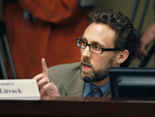Scott Sommerdorf  |  The Salt Lake Tribune Rep. David Litvack, D-Salt Lake City, contests the committee chairman's motion to limit committee members clarifying questions to 3 minutes. It was put to a vote, and voted down, allowing unlimited questions from committee members. Committee meeting to discuss Rep. Stephen Sandstrom's HB70, Friday, February 11, 2011.