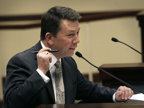 Scott Sommerdorf  |  The Salt Lake Tribune Rep. Stephen Sandstrom, R-Orem, explains to the committee that he was