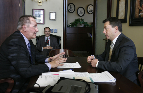 Scott Sommerdorf  |  The Salt Lake Tribune Utah Attorney General Mark Shurtleff sits down with Rep. Stephen Sandstrom, R-Orem, at a 12:30 p.m. meeting about Sandstrom's retooled immigration bill, HB70, Friday, February 11, 2011.