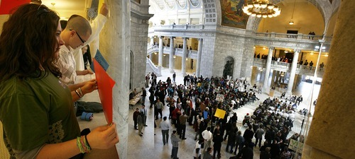 Scott Sommerdorf     The Salt Lake Tribune Utah Support Advocates for Recovery Awareness rallies in the state Capitol Monday to lobby lawmakers to fully fund state-sponsored prevention, treatment and recovery support services. Lawmakers are debating possible cuts in the state budget.