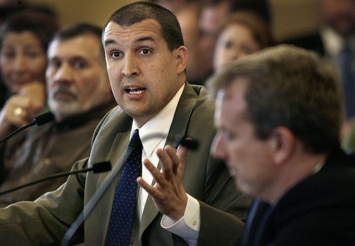 SCOTT SOMMERDORF  |  The Salt Lake Tribune Wesley Smith, of the Salt Lake Chamber of Commerce, testifies against Rep. Chris Herrod's HB253 targeting companies that hire undocumented workers. The committee changed the bill to exempt those with fewer than 15 employees, then passed the bill with a favorable recommendation.