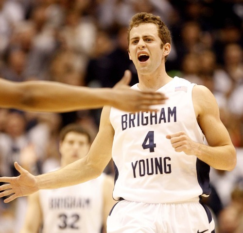 Trent Nelson  |  The Salt Lake Tribune BYU's Jackson Emery celebrates as BYU takes an eight point lead in the second half at BYU vs. Utah, college basketball in Provo, Utah, Saturday, February 12, 2011. BYU won 72-59.