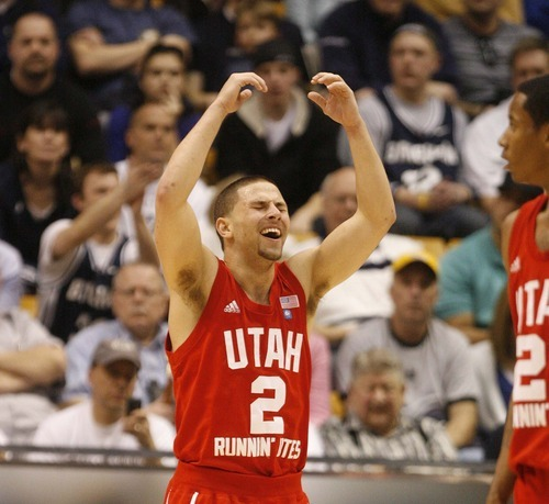 Trent Nelson  |  The Salt Lake Tribune Utah's Chris Kupets reacts after he's called for a foul in the second half at BYU vs. Utah, college basketball in Provo, Utah, Saturday, February 12, 2011. BYU won 72-59.