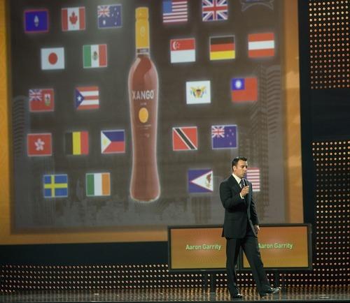 Aaron Garrity, CEO of XanGo, addresses conventioneers in Salt Lake City in 2007. Tribune file photo