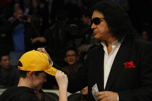 Photo by Chris Detrick | The Salt Lake Tribune  Gene Simmons signs autographs before the 2011 NBA All-Star game at the Staples Center Sunday February 20, 2011.    The West won 148-143.