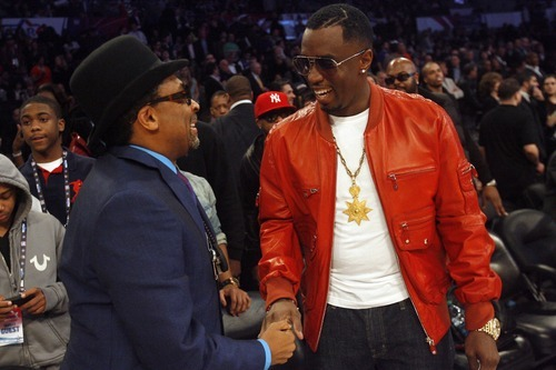 Photo by Chris Detrick | The Salt Lake Tribune  Spike Lee talks with Sean 'P. Diddy' Combs before the 2011 NBA All-Star game at the Staples Center Sunday February 20, 2011.    The West won 148-143.