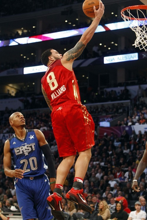 Photo by Chris Detrick | The Salt Lake Tribune  Utah Jazz's Deron Williams shoots over Ray Allen during the second half of the 2011 NBA All-Star game at the Staples Center Sunday February 20, 2011.    The West won 148-143.