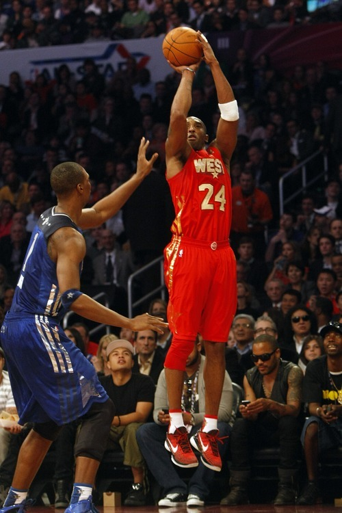 Photo by Chris Detrick | The Salt Lake Tribune  Kobe Bryant shoots over Chris Bosh during the second half of the 2011 NBA All-Star game at the Staples Center Sunday February 20, 2011.    The West won 148-143.