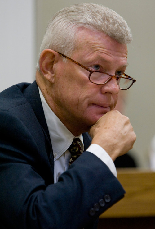 Jud Burkett / The Spectrum Bill Hammons listens to testimony during his preliminary hearing in 5th District Court in St. George Aug. 19, 2009. Hammons was convicted of seven counts of securities fraud for luring investors to take part in Val Southwick's Ponzi scheme.