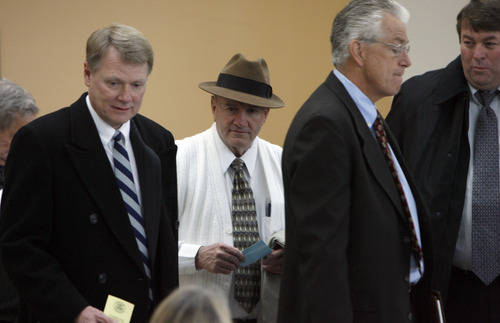 Francisco Kjolseth  |  Tribune file photo     From left: Rod Parker, FLDS attorney, Wendell Nielsen, then-president of the FLDS Church, Jim Bradshaw, FLDS attorney, and Willie Jessop, FLDS spokesman arrive at the Matheson Courthouse in Salt Lake City.