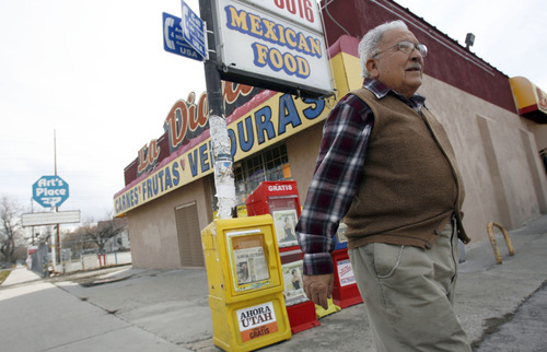 Francisco Kjolseth  |  The Salt Lake Tribune Archie Archuleta, who has lived in Utah for 50 years, walks one of his West side neighborhoods where he has noticed an explosion of Hispanics in the past 10 years, with many more businesses now catering to them.