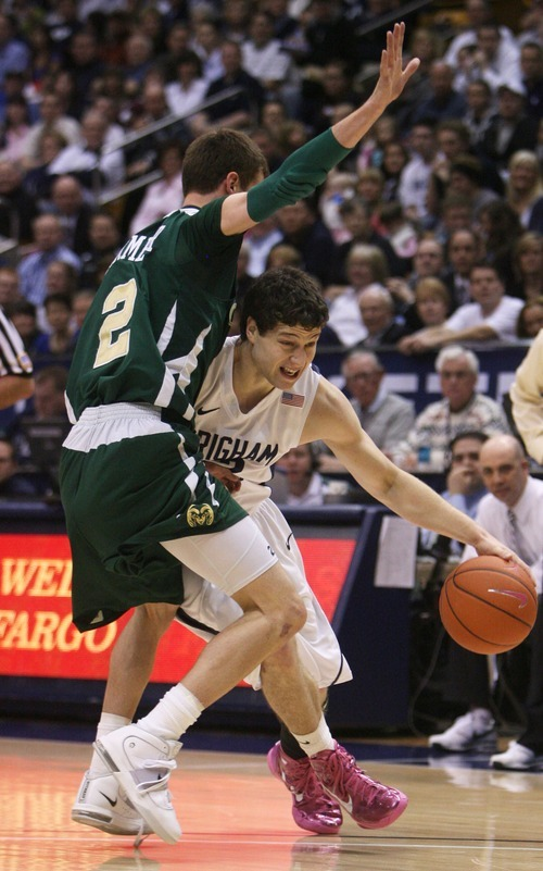 Steve Griffin  |  The Salt Lake Tribune   BYU's Jimmer Fredette tries to get around CSU's Wes Eikmeier  during first half action in the BYU versus CSU men's basketball game at the Marriott Center in Provo, Utah Wednesday, February 23, 2011.