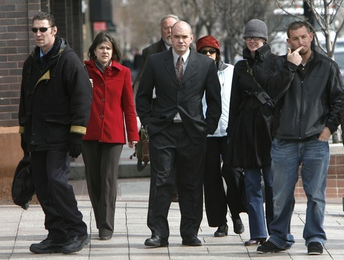 Steve Griffin  |  The Salt Lake Tribune Tim DeChristopher walks into the Frank Moss United States Courthouse for the start of his trial Monday. He is accused of interfering with a 2008 Bureau of Land Management auction of oil and gas drilling leases by bidding up parcels of land by hundreds of thousands of dollars without any intention of paying for them.