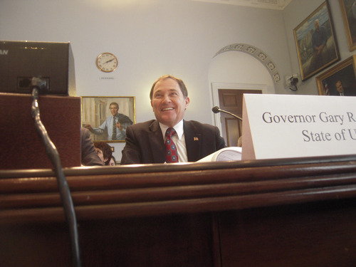 Thomas Burr | The Salt Lake Tribune Utah Gov. Gary Herbert tells before the House Natural Resources Committee on Tuesday that a new Interior Department policy would cost Utah billions of dollars and hinder its economy.