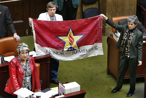 Scott Sommerdorf  |  The Salt Lake Tribune HB250 by Rep. Merlynn Newbold, R-South Jordan, designates an official flag to honor military members killed in the line of duty.