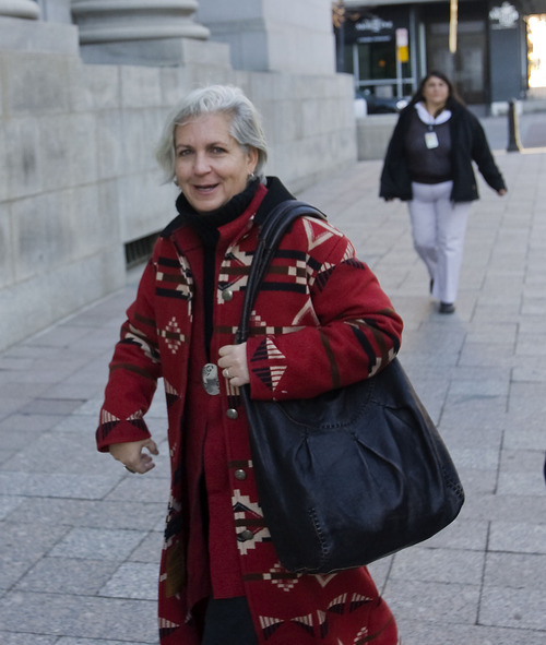 Al Hartmann   |  The Salt Lake Tribune  Western environmental writer Terry Tempest Williams enters Frank Moss Federal Courthouse to attend the first day of the Tim DeChristopher trial on Tuesday, March 1.