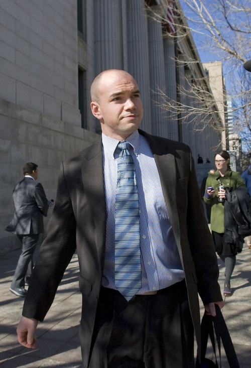 Al Hartmann   |  The Salt Lake Tribune  Tim DeChristopher leaves Frank Moss Federal Court in Salt Lake City on Tuesday after his first day of trial.