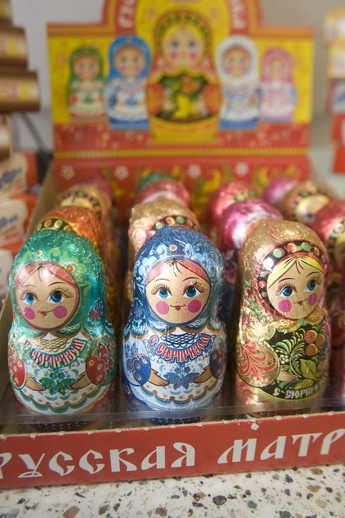 Paul Fraughton  |  The Salt Lake Tribune Chocolate, in the form of Russian dolls, is on display at Moscow Gourmet Foods and Gifts in Draper. The store also sells items such as a whole smoked mackerel, imported from New York, sunflower oil or a bottle of horseradish blended with beets.
