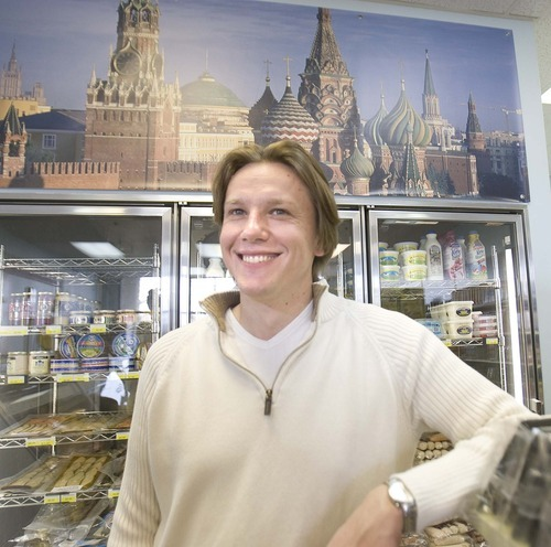 Paul Fraughton  |  The Salt Lake Tribune Leo Balitskiy runs Moscow Gourmet Food and Gifts in Draper. Running a small market is a major shift for the 35-year-old, who previously worked for New York City's Human Resources Administration while earning an MBA.