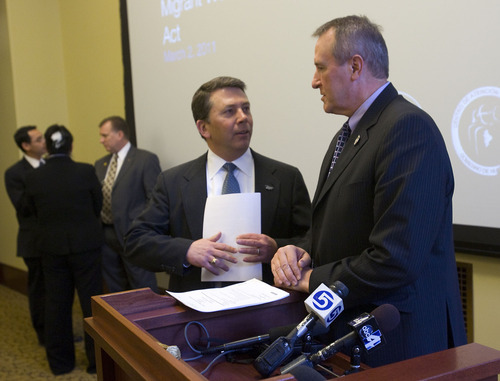 AL HARTMANN   |  The Salt Lake Tribune  Rep. Stephen Sandstorm, center, speaks with Utah Attorney General Mark Shurtleff, right, before announcing a new guest worker bill. Under the proposal, endorsed by major players in the immigration debate, Utah would establish a partnership with the Mexican state of Nuevo Leon.