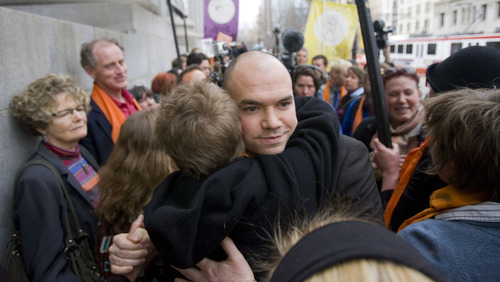 Al Hartmann   |  The Salt Lake Tribune  Tim DeChristopher wades though his supporters giving hugs and thanks after being found guilty of crashing a federal oil and gas lease auction outside the Frank Moss Federal Courthouse in Salt Lake City March 3.