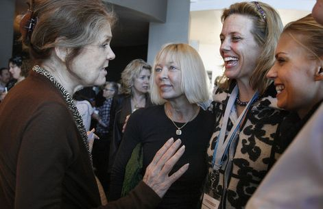 Scott Sommerdorf  l  The Salt Lake Tribune Geralyn Dreyfous (second from right) speaks with Gloria Steinem (far left) as Dreyfous continues her film promotion tour of