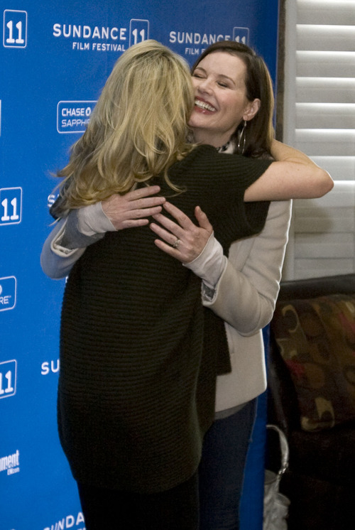 Steve Griffin  |  The Salt Lake Tribune   Geena Davis hugs