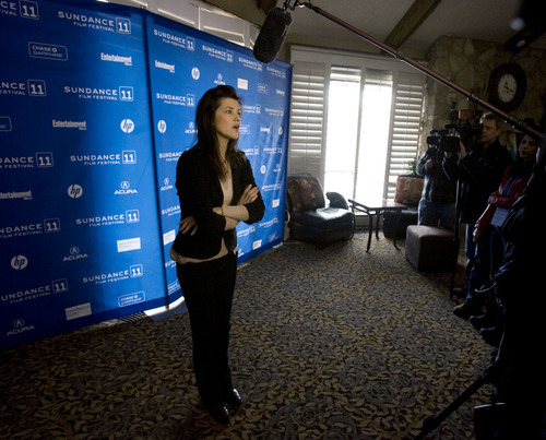Steve Griffin  |  The Salt Lake Tribune   Daphne Zuniga talks with the press as she attends the Sundance premiere of