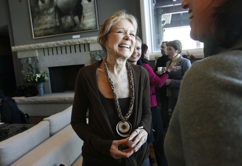 Scott Sommerdorf  l  The Salt Lake Tribune Gloria Steinem was the cneter of attention Jan. 23 at Jacki Zehner's home in Park Meadows, where Geralyn Dreyfous continued her film promotion tour of