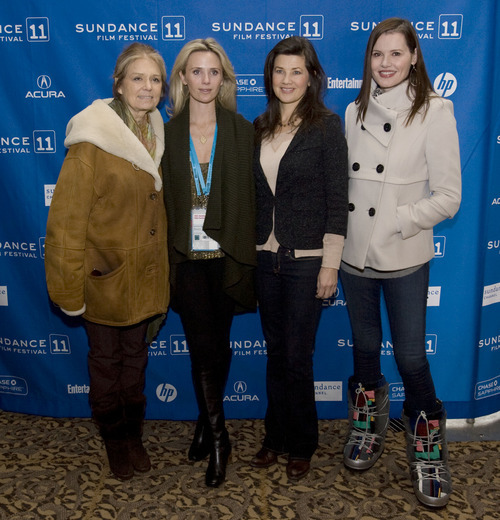 Steve Griffin  |  The Salt Lake Tribune   Activist Gloria Steinem, filmmaker Jennifer Siebel Newsom, actress Daphne Zuniga and actress Geena Davis pose for photos as they attend the premier of Newsom's