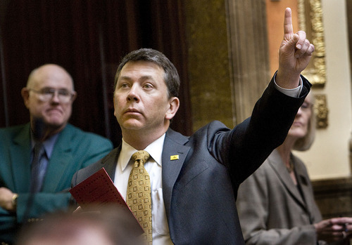 SCOTT SOMMERDORF  |  Tribune File Photo Rep. Stephen Sandstrom, R-Orem, agreed to the killing off of his enforcement-only immigration bill HB70, which had caused such controversy and dissension. He replaced it with a new version -- HB497 -- that is said to be more acceptable to the Senate. But opponents still pan it.
