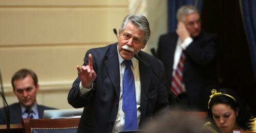 STEVE GRIFFIN  |  The Salt Lake Tribune Sen. Gene Davis, D-Salt Lake City, explains his