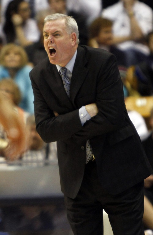 Rick Egan  |  The Salt Lake Tribune  BYU coach Dave Rose, complains about a call, in Mountain West Basketball action, BYU vs New Mexico in the Marriott Center in Provo, Wednesday, March 2, 2011