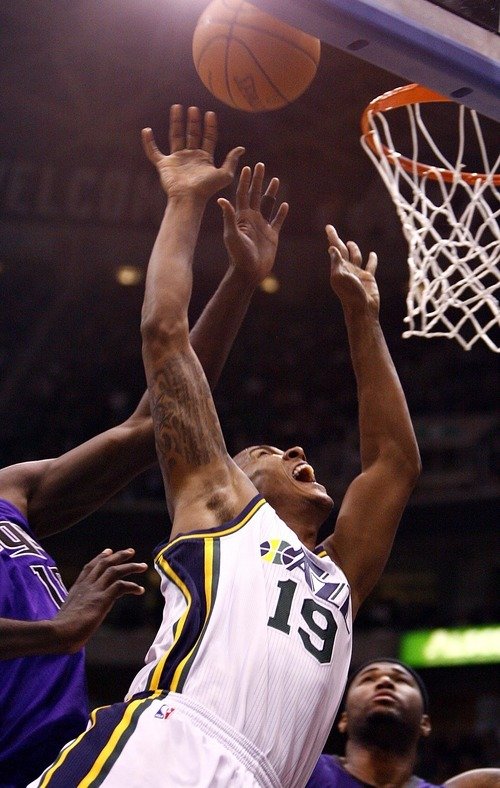 Djamila Grossman  |  The Salt Lake Tribune  The Utah Jazz' Raja Bell (19) shoots the ball during a game by the Sacramento Kings at Energy Solutions Arena in Salt Lake City, Utah, on Saturday, March 5, 2011. The Jazz won the game.